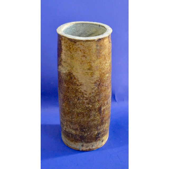 Vintage Hand Thrown Studio Earthy Toned Pottery Cylindrical Vase - Image 2 of 10