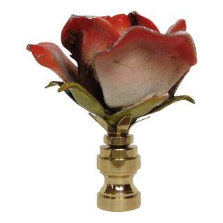 Large Vintage Italian Tole Rose Finial, Single
