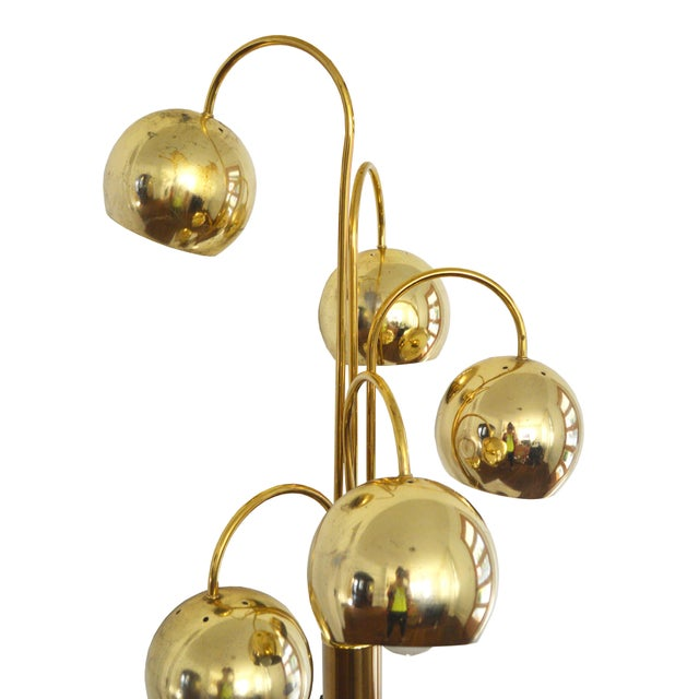 Brass Floor Lamp Mid Century: Mid Century 5-Light Brass Floor Lamp