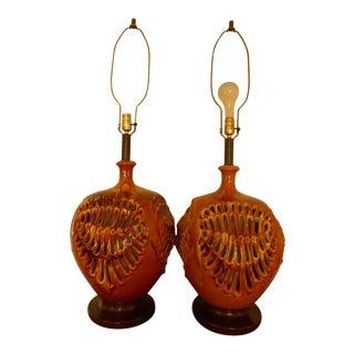 Mid-Century Ceramic Brutalist Lamps - a Pair