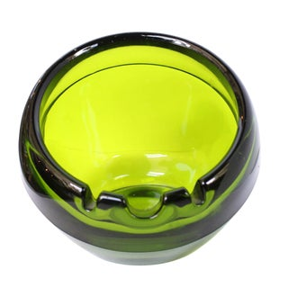 Vintage Green Viking Glass Ashtray