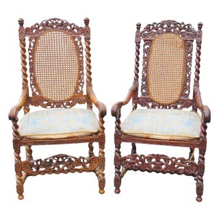 Barley Twist Caned Throne Chairs - A Pair