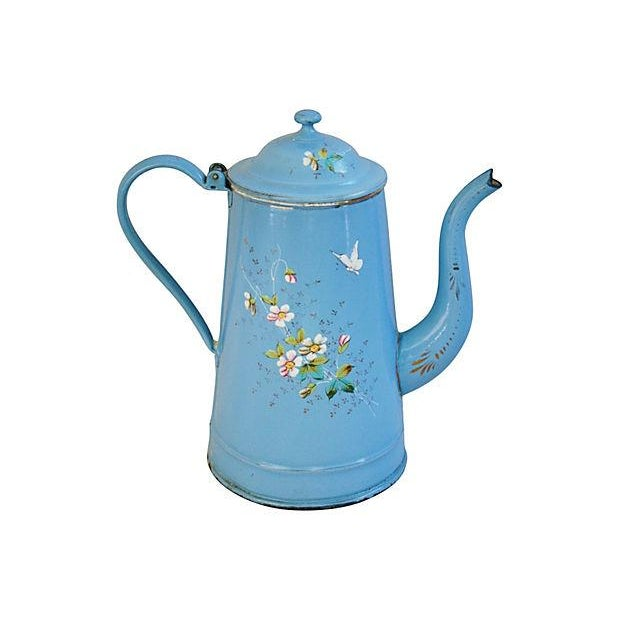 French Hand-Painted Enamelware Coffeepot - Image 1 of 7