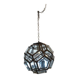 Pentagon Beveled Glass & Brass Pendant