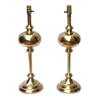 Neoclassical Hollywood Regency Brass Lamps -A Pair