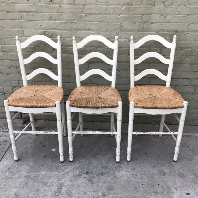Painted Barstools with Rush Seats -- Set of 3 - Image 3 of 6