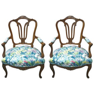 French Armchairs with Floral Pattern - Pair