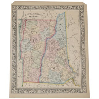 New Hampshire - Vermont Hand Colored Map C.1862