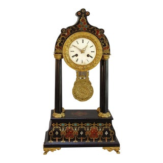 French Mantel Clock with Boulle Style Decoration (#71-32)