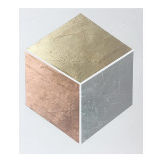"""""""Gilded Cube No. 1"""" Acrylic on Canvas Painting"""