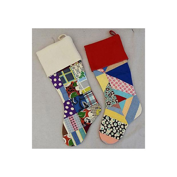 "Large Custom 22"" Tailored Patchwork Quilt Christmas Stockings - Pair - Image 4 of 7"