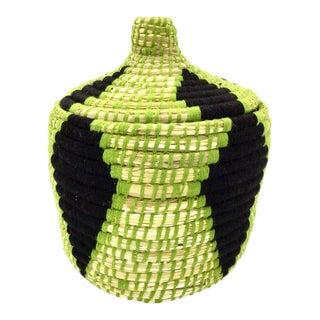 Green & Black Straw Moroccan Basket