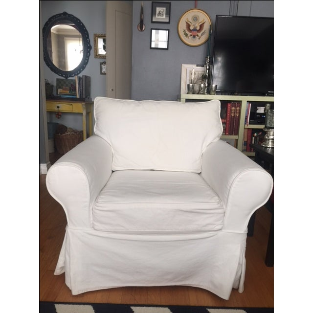 Pottery Barn White Slipcover Armchair - Image 2 of 6