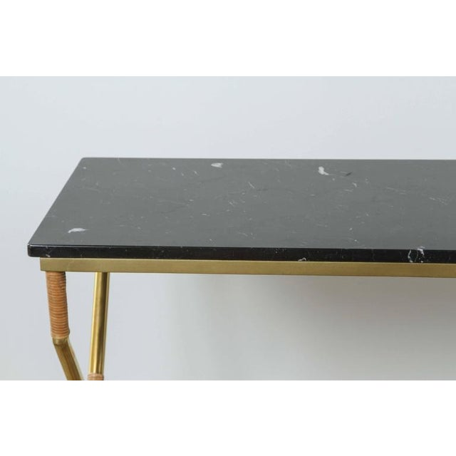 Customizable Paul Marra Brass and Raffia Console with Marble Top - Image 4 of 8