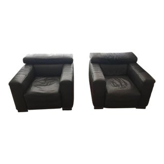 Italian Leather Arm Chairs- A Pair