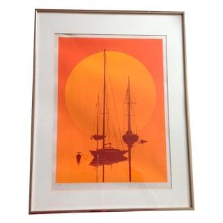 Mid-Century Modern Orange Sunset Lithograph