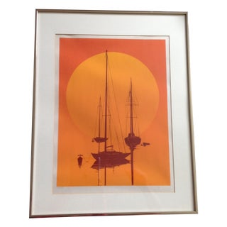 Mid-Century Modern Orange Sunset Lithograph