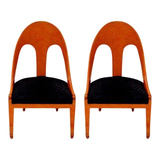 Michael Taylor for Baker Neoclassic Spoonback Chairs - a Pair