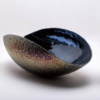 Murano Bowl with Textured Surface and Iridescent Colors