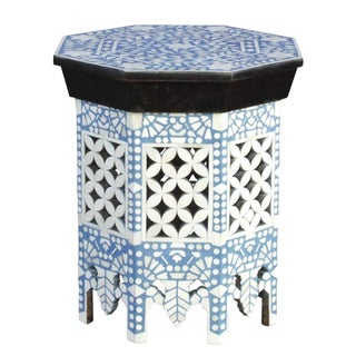 Moorish Sky Blue & White Bone Inlay Table