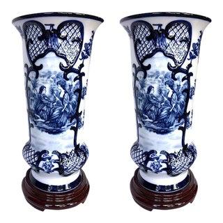 Blue & White Bombay Co. Vases - A Pair