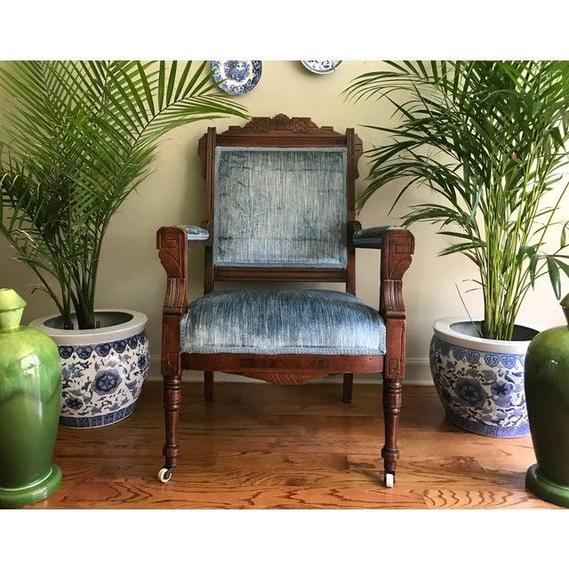 Blue Velvet Eastlake Chair - Image 9 of 9