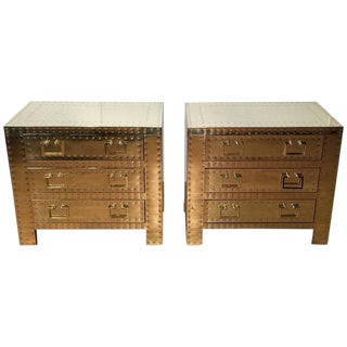 Sarreid Ltd. Brass Campaign Style Chests or Nightstands - A Pair