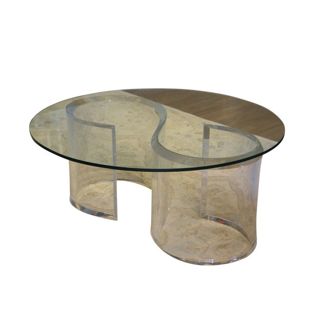 Mid-Century Modern Lucite & Glass Coffee Table