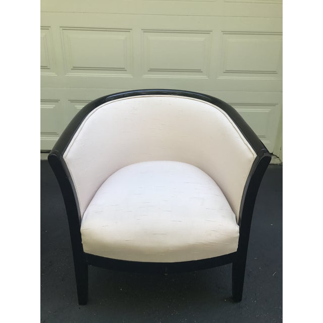 Blush Club Chairs With Black Lacquer Frame - Ward Bennett Style - a Pair - Image 4 of 10