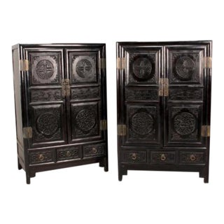 Antique Chinese Zitan Cabinets - A Pair