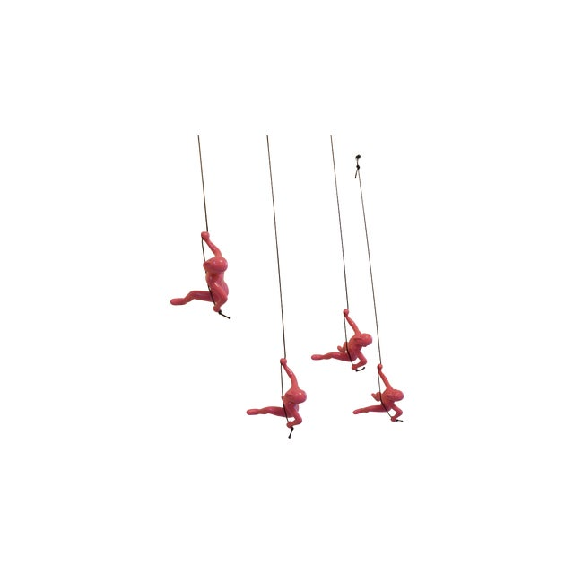 Pink Climbing Man Wall Art - Set of 4 - Image 1 of 7