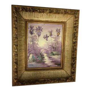 Framed Island Scene Painting