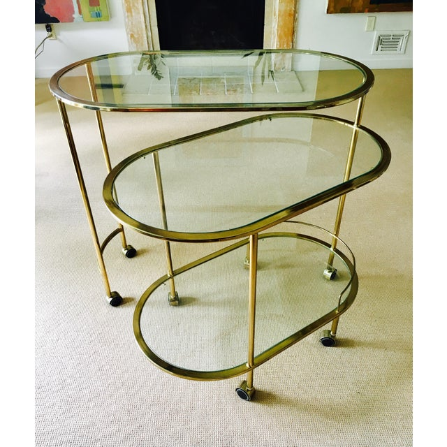 Vintage Triple Tiered Brass Swivel Bar Cart - Image 2 of 11