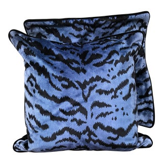 """Scalamandre Blue/Black Le Tigre 22"""" Pillow Covers - A Pair"""