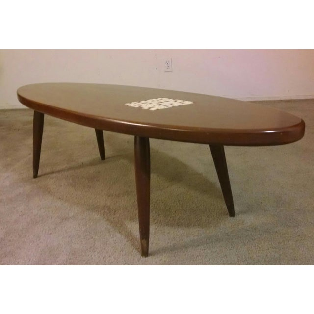 Vintage 71 Mid Century Modern Lane Danish Style Surfboard: Danish Modern Teak & Tile Surfboard Coffee Table