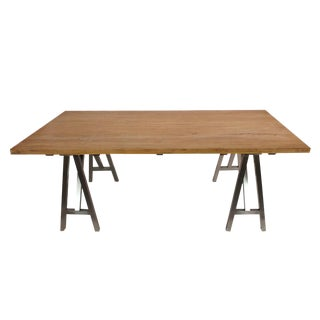 Reclaimed Wood Dining Table with Polished Steel Legs