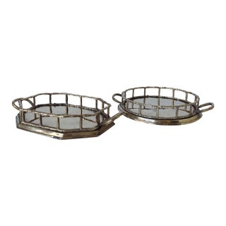 Brass Bamboo Style Accent Trays - a Pair