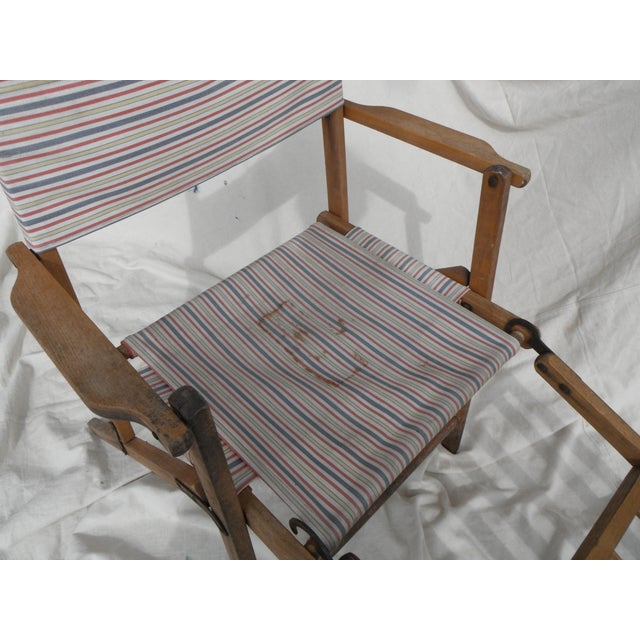 Antique Canvas Steamer Chair & Footrest - Image 4 of 8