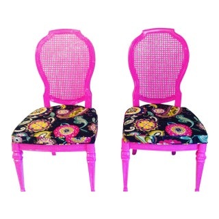 Boho Chic Hot Pink Side Chairs - A Pair