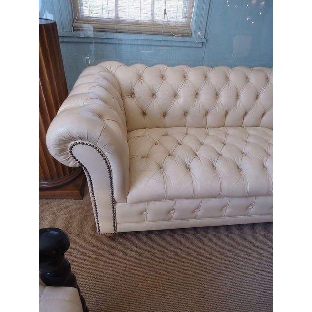 Beige Leather Tufted Chesterfield Loveseat Chairish