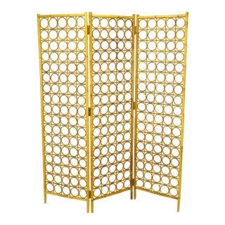 Bamboo & Rattan Circles In Squares Three Panel Screen