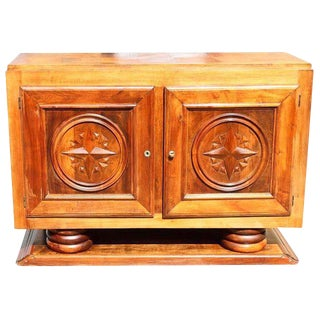 French Art Deco Bar Exotic Solid Walnut by Charles Dudouyt