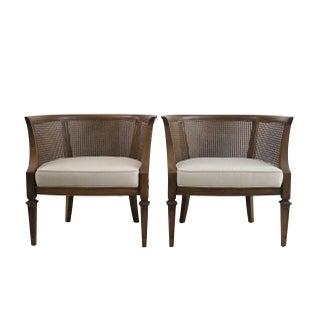 Hollywood Regency Cane Barrel Chairs - Pair