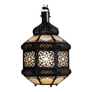 White Etched Moroccan Sun Lantern