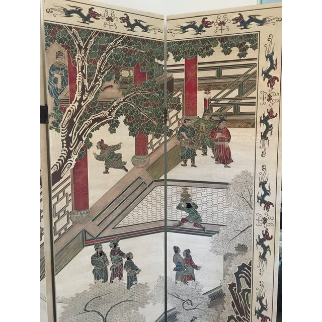 Hand-Painted Chinese Wood Screen - Image 10 of 11