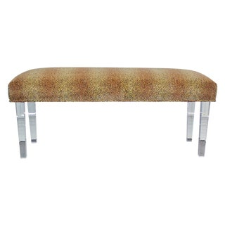Cheetah Velvet Lucite Bench