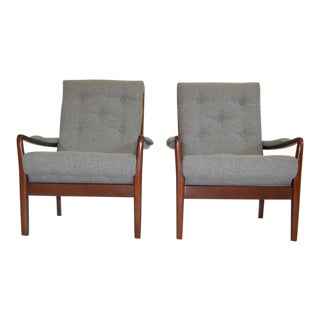 Teak & Fabric Lounge Chairs - A Pair