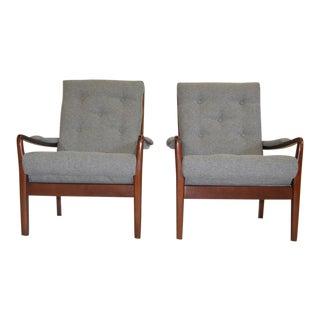 Teak & Fabric Lounge Chairs - A Pair