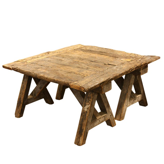 French Rustic Coffee Table On Sawhorse Legs Chairish