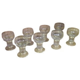 Gilt Greek Key Border Glass Compotes - Set of 8